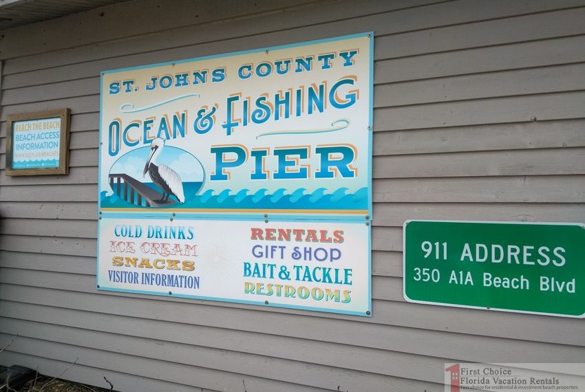 St Augustine Beach Pier Fishing Pier Shop and Address Sign