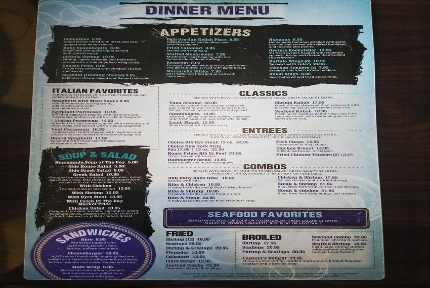 Zaharias St. Augustine Dinner Menu