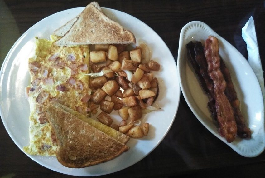 Zaharias St. Augustine Ham and Cheese Omelette Home Fries Rye Toast Bacon