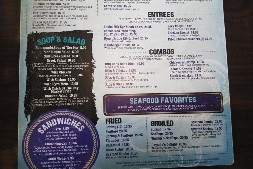 Zaharias St. Augustine Menu Entrees Combos Favorites Sandwiches