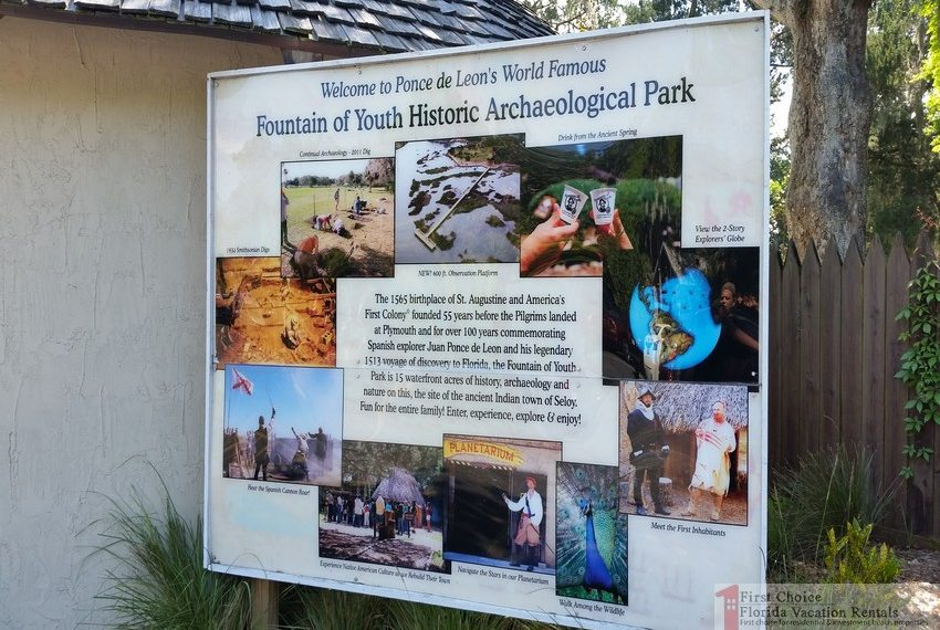 Fountain of Youth Park Attractions Sign